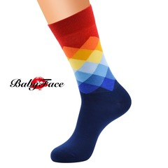 Babyface ins hot HAPPY SOCKS socks with the same paragraph European version of the large size men 1# navy blue, 2# grey, 3# green, 4# black, 5# wine 38-44