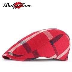 Babyface beret ladies cap men and women spring summer visor British plaid forward hat Red 55cm-60cm
