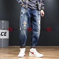 5th Anniversary Hot Deals Men and Women Large Size Nine Points Harem Pants Hole Loose Jeans blue 45
