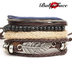 Babyface bracelet new angel wings feather woven beaded wax rope bracelet star with the bracelet 01 m