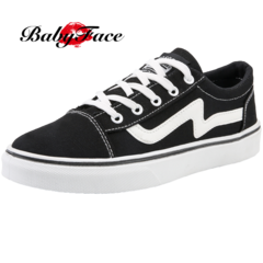 BABYFACE men's low canvas shoes casual tide shoes youth white shoes street skate shoes black and white 44