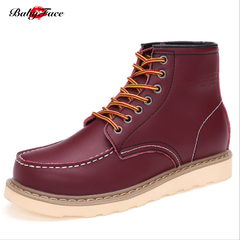 5th Anniversary Sale England Martin Boots Men's Shoes Leather High Help Workwear Booties burgundy 46