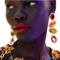 2019 New Lady fashion luxury diamond earrings dress accessories purple one size