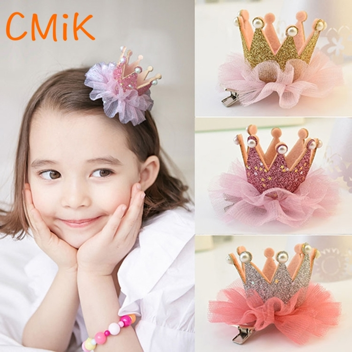 Childrens Hairpin Princess crown Lace Cute Pearl Girl Hair Clips Crown 1PC Shiny Star Head red