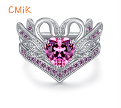 New heart-shaped crystal zircon diamond Wedding Rings Women Jewellery Christmas pink 6