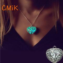 CMiK Brand New Glowing heart pierced Luminous Alloy Necklaces Pendant Women Jewellery Gift blue one size