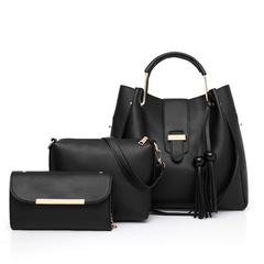 In 2019, the new fashion mother-child bag, one-shoulder portable bucket, mother bag. . black one size