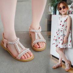Summer New Girl princess shoes Pearl Sandals Baby Princess Shoes Children Skid-proof Shoes black 22-14.5cm