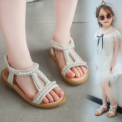 Summer New Girl princess shoes Pearl Sandals Baby Princess Shoes Children Skid-proof Shoes white 21-13.8cm
