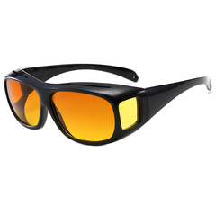 HD Car Driving Sunglasses Night Vision Wrap Arounds Yellow Lens Over Unisex Glasses Black frame day and night dual-use lens one size