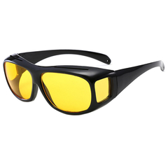 HD Car Driving Sunglasses Night Vision Wrap Arounds Yellow Lens Over Unisex Glasses Black frame yellow piece one size