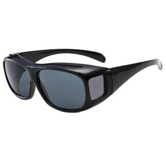 HD Car Driving Sunglasses Night Vision Wrap Arounds Yellow Lens Over Unisex Glasses Black frame gray piece one size