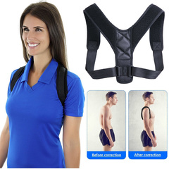 Brace Support Belt Adjustable Back Posture Corrector Clavicle Spine Back Shoulder Lumbar Posture Black M adjustable