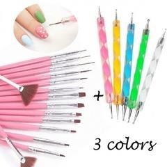 New 20pcs Nail Art Design Set Dotting Painting Drawing Polish Brush Pen Tools white