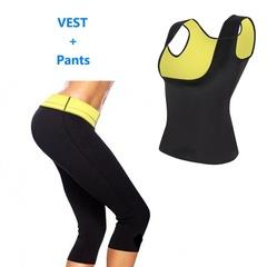 Hot Shapers Control Panties Vest Women Stretch Neoprene Vest Slimming Body Shaper( Pants +Vest) black s