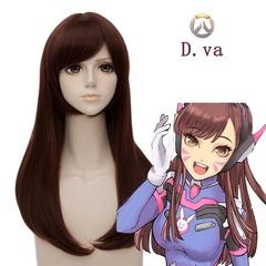 Overwatch Game D.VA cosplay wigs brown nomal