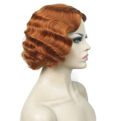 Vintage Cosplay Party Wig Short Finger Wavy Flapper Hairpiece Short Curly Flapper Wigs +Free Wig Cap brown nomal