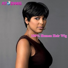TOP African American Elegant Short Brazilian Human Hair Wig with Bangs nomal nomal