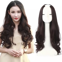 U Part Half Wig Synthetic Curly Clip in Extension Long Wigs Natural Head Invisible Fiber12Colors nomal Black--Curly 20inch