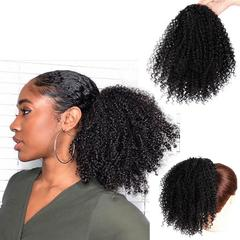 Synthetic Curly Ponytail Afro Kinky Hair Extension Drawstring Ponytail Puff Wig black nomal