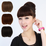 Women Girl False Human Wig Full Bangs Hair Pieces Extensions Clip in front hair light brown 1pc