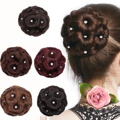 Female Wig Hair Ring Curly Bride Makeup Diamond Bun Flowers Chignon Hairpiece One size 1pc