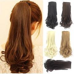 Auburyshop 45cm Women's Wig Long Straight Hair Ponytails Girls Seamless Hair Extension Rope A 1pc