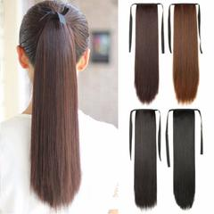 Fiber Drawstring Long Straight Hair Wig Ponytail Synthetic Fake Cosplay 2/33# One size 1pc