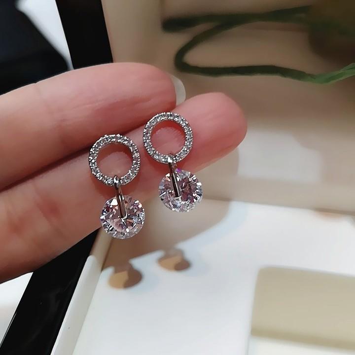 Stud Earrings Fashion 925 Silver Wedding Jewelry Double Crystal Zircon Earrings one size 1