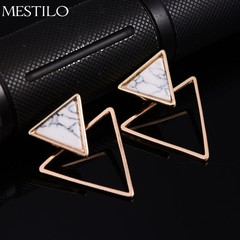Fashion Square Triangle Round Geometric Faux Stone Stud Earring Women Party Jewelry one size 1