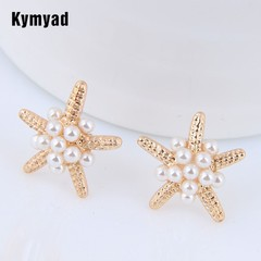 Stud Earrings For Women Sea Star Earrings Imitation Pearl Earings one size 1