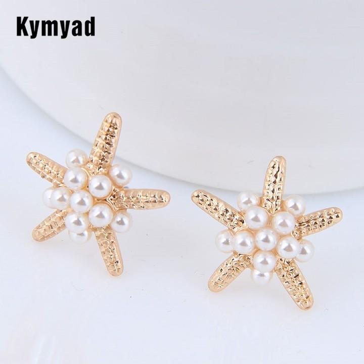 Stud Earrings For Women Sea Star Earrings Imitation Pearl Earings one size 1
