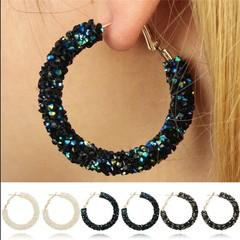 Stud Earrings for Women Big Round Shiny Rhinestone Earring Fashion Jewelry for Female black 1