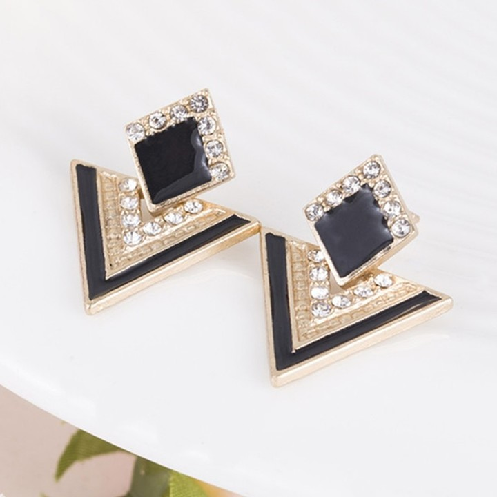 Colorful Enamel Rhinestone Party Earring Geometric Drop Triangle Earrings for Women Fashion Jewelry red 1