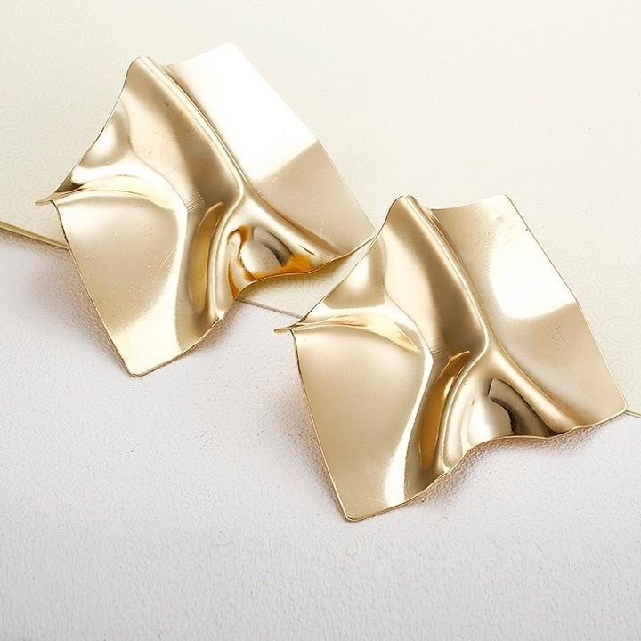Luxury Gold Suqare Stud Earrings For Women Fashion Jewelry Party European Earrings Ear Decoration