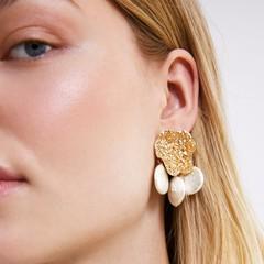 Vintage Pearl Stud Earrings Earing jewelry Korea Design Metal Gold Geometric Irregular Earrings one size 1