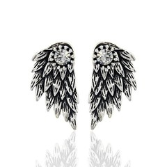 Silver Color Cool Angel Wings Alloy Stud Earrings Cool Black Feather Earrings siliver 1