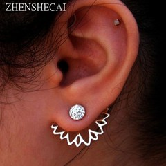 Stud Earrings Jewelry gold sliver Simple design Rhinestones Earring jewelry e0400 siliver 1