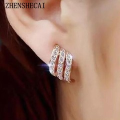 Fashion Jewelry for women stud earring gold color crystal shiny Female geometric long Brinco Earing oorbellen