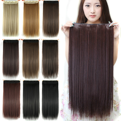 60cm Long Straight Women Clip in Hair Extensions Black Brown High Tempreture Synthetic Hair Piece Matte silky Brown 1