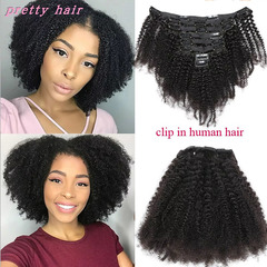 Afro kinky Curly Clip In Human Hair For Black Women natural black 8inch