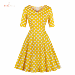 Hello Miss Yellow Printed Point Fashion Work Dress V-collar Dress S-4XL s yellow