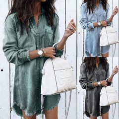 2019 Newest Women Casual Denim Shirt Dress Ladies Long Sleeve Turn-Down Collar Office Lady Dress s blcak