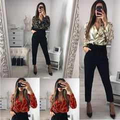 Vintage Silk Rompers Womens Jumpsuit Long Sleeve Chain Print Top Shirt Ladies Deep V Neck Printed red s