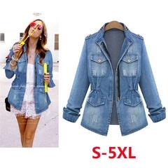 New Fashion Women Slim Long Sleeve Denim Coat Jacket Ladies Fashion Tops Splice Coat(S-XXXXXL) Blue S
