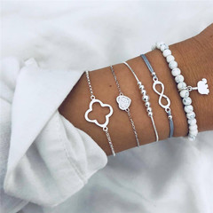 2019 Jewelry 5 Pairs/Set Bracelets Women's Fashion Accessories Jewellery Eight-character heart as picture one size