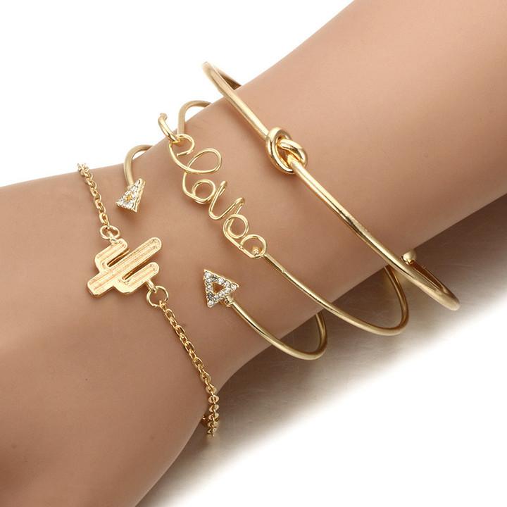 2019 Jewelry 4 Piece Alloy Bracelets Retro Triangular Bracelet Women's Fashion Accessories Jewellery gold 5.5cm-23.5cm