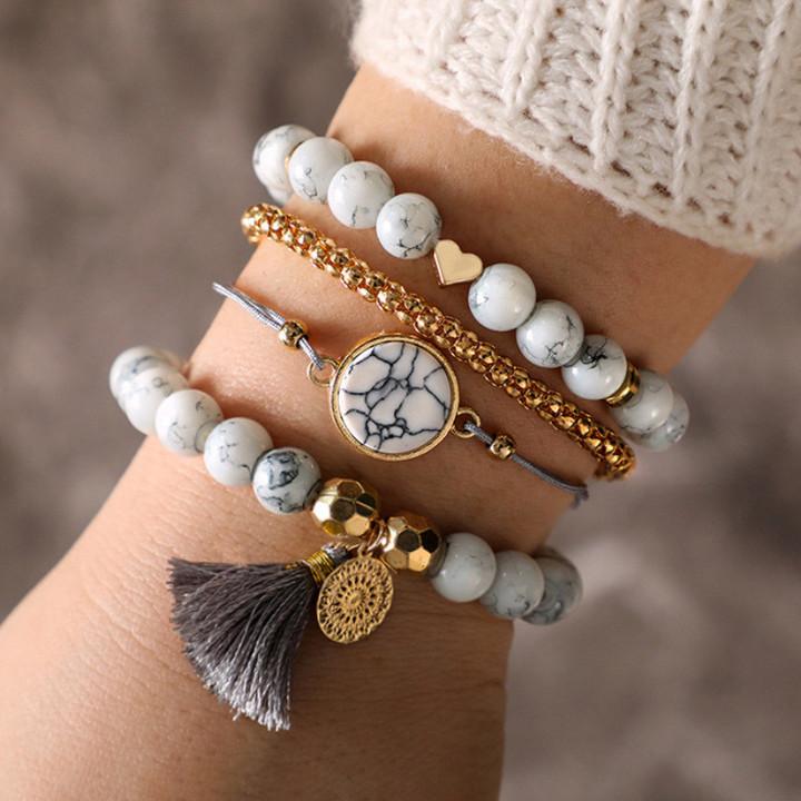2019 Jewelry 4 Piece/Set Bracelets Women's Fashion Jewellery Handmade Beaded tassels Turquoise as picture 15cm-25cm