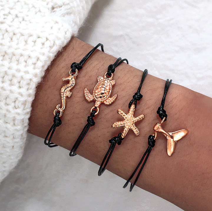 2019 Jewelry 4 Piece/set Bracelets Women's Fashion Hippocampus starfish tortoise tail knitting rope gold 19cm-20cm