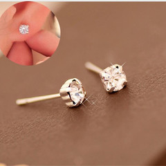 Shine Diamond Earring Alloy Rhinestones Fashion Jewelry For Women silver one size